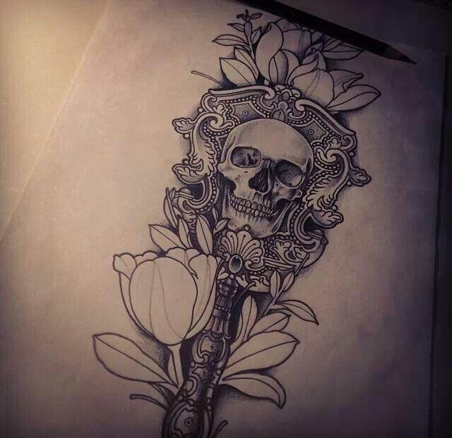 Best portrait tattoo artist skull flower tattoo pinterest for Skull and flowers tattoos
