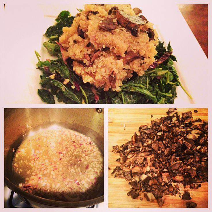 "Easy Mushroom Quinoa ""Risotto"": 1. cook quinoa in veg broth 2. saut..."