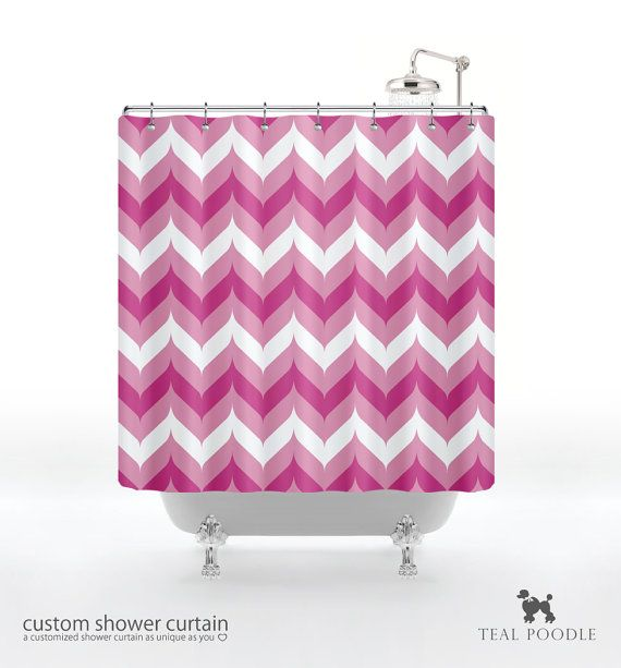 Fancy chevron shower curtain pink by tealpoodle on etsy 74 00