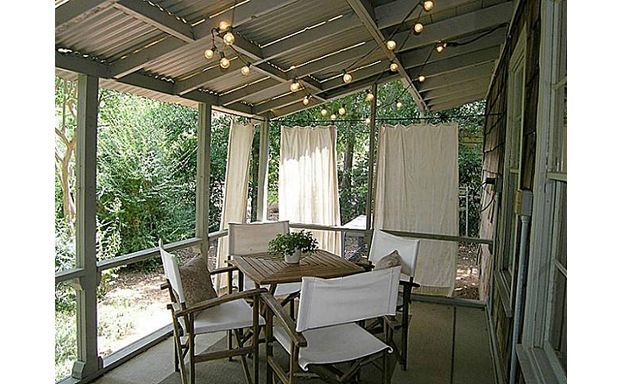 covered patio with breezy curtains Backyardia Pinterest - Covered Porch Pictures