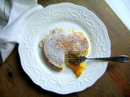 Fluffy Ricotta Pancakes with Lemon Curd. Very good, but sweet with the ...
