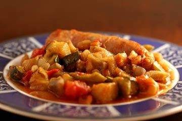 Italian sausages cooked in the oven with ratatouille, sauteed zucchini ...