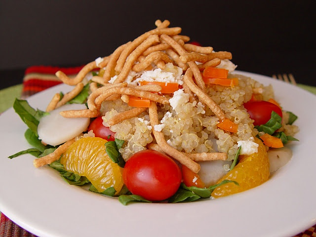 Quinoa Mandarin and Feta Salad. Looks like an awesome summer dish.