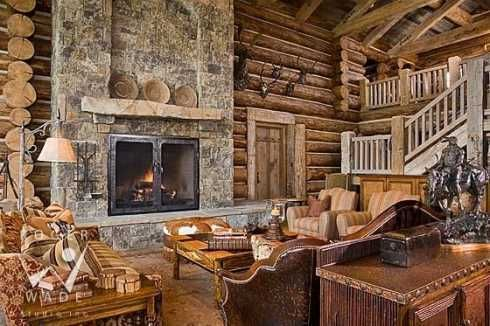 Country fireplace warm cozy fireplaces pinterest for Country stone fireplace