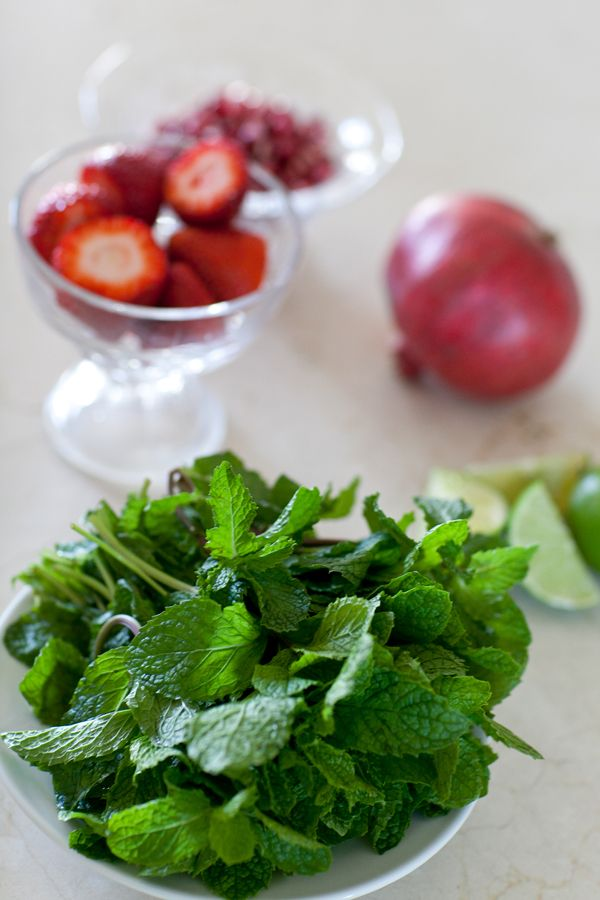 Pomegranate Mojito 15 mint leaves 2 limes 2 tablespoons pomegranate ...