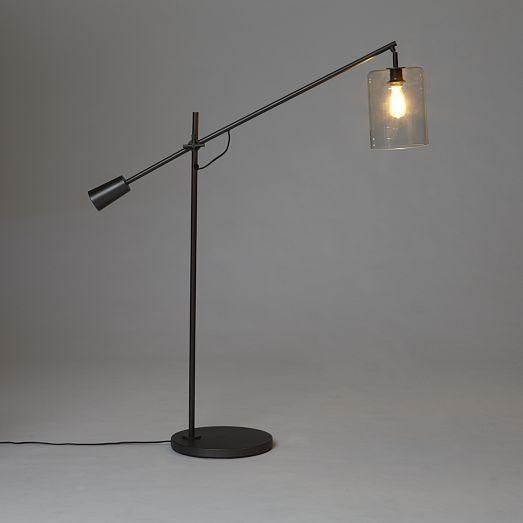 adjustable glass floor lamp west elm light on pinterest. Black Bedroom Furniture Sets. Home Design Ideas