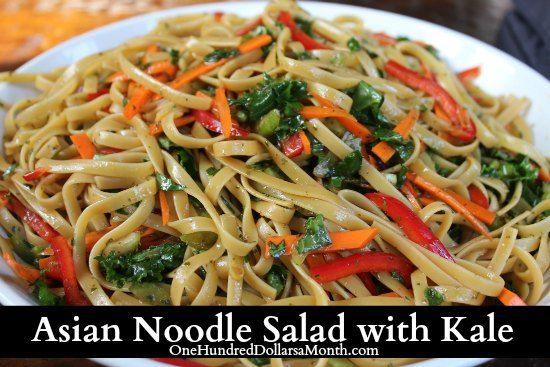 Asian Noodle Salad with Kale | dinner recipes | Pinterest