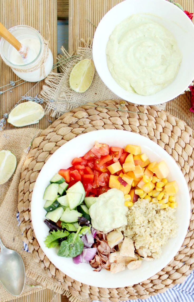 Grilled Chicken Quinoa Rainbow Salad with Lime Avocado Dressing