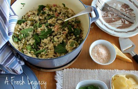 Risotto recipe easy Bacon pea and baby spinach risotto