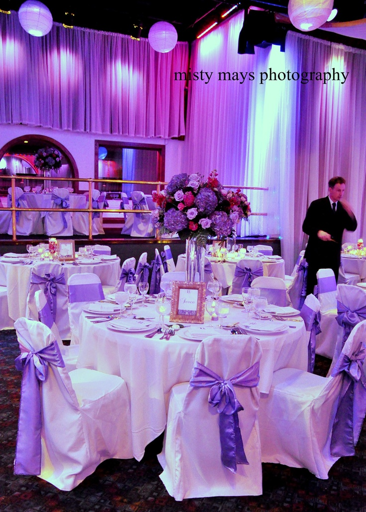 Purple Wedding Reception Table Decorations And Chair Sashes