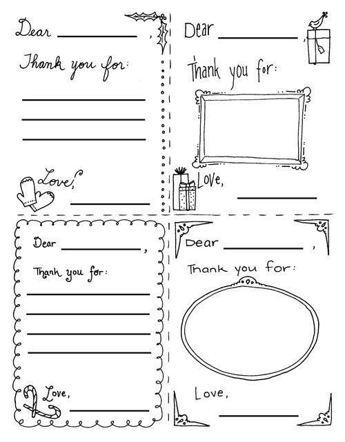 kids coloring–thank you cards –free printable