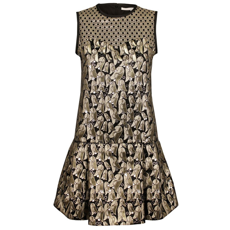 Victoria, Victoria Beckham Bells Ring Jacquard Sleeveless Contrast Dress | GarmentQuarter