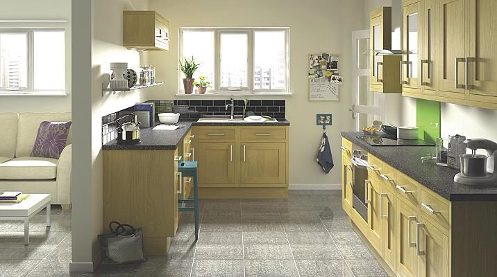 New Kitchen Oak Cabinets B Q Black Countertops Possible Sage
