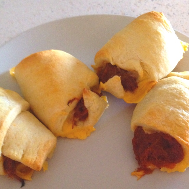 Pulled pork roll ups i made food pinterest