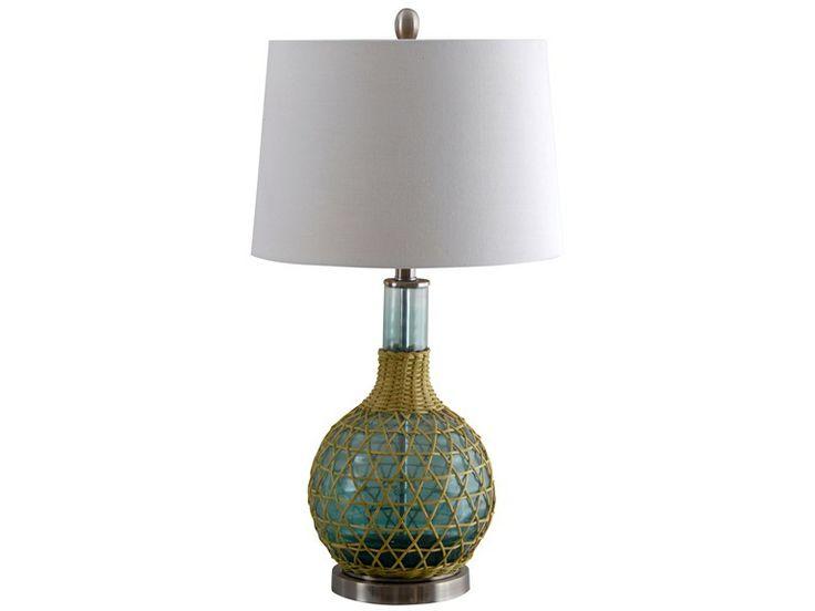 illuminada lighting 3 way green glass table lamp with white shade. Black Bedroom Furniture Sets. Home Design Ideas