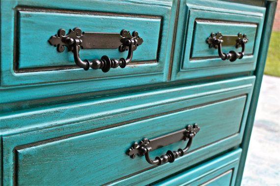 bondi blue vintage chest bedroom furniture black drawer