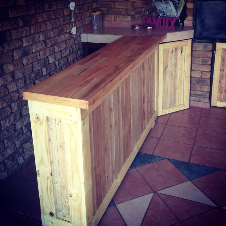 Pallet Wood Bar Counter Nearly Done DIY Pinterest