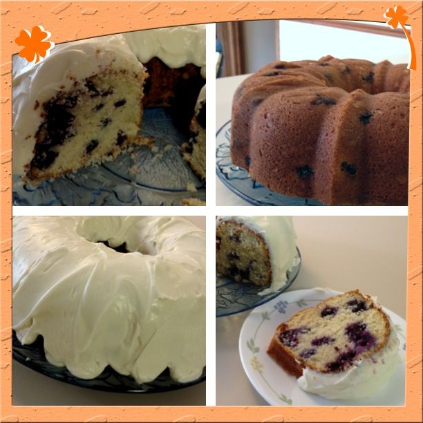 Blueberry lime cream cheese pound cake. Yummy!