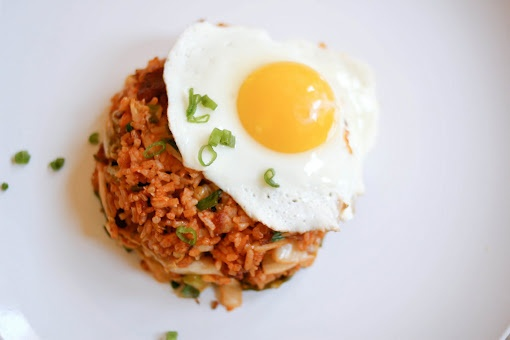 Kimchi fried rice - Can easily omit the bacon and/or egg. Peas aren't ...