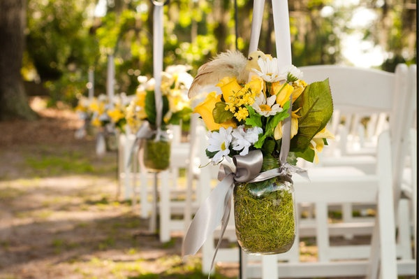 Yellow and gray centerpieces late summer wedding pinterest