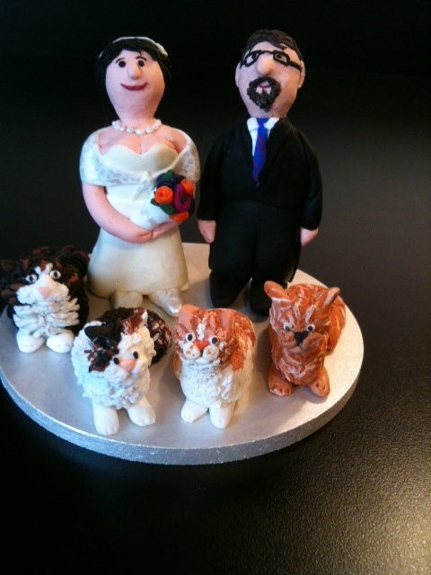 Fimo wedding cake topper. Made by me!