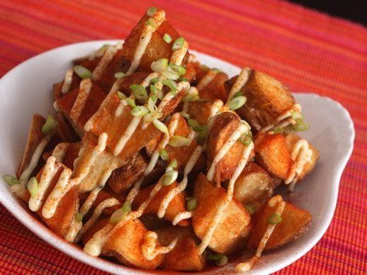 Patatas Bravas - tapas. Made for Christmas dinner. Delicious. Potatoes ...