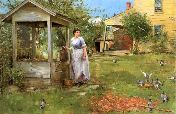 Garden scenery oil painting garden scenery oil painting at the well by