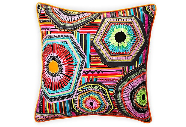 "Cotton graphic patterned pillow 20"" x 20"""