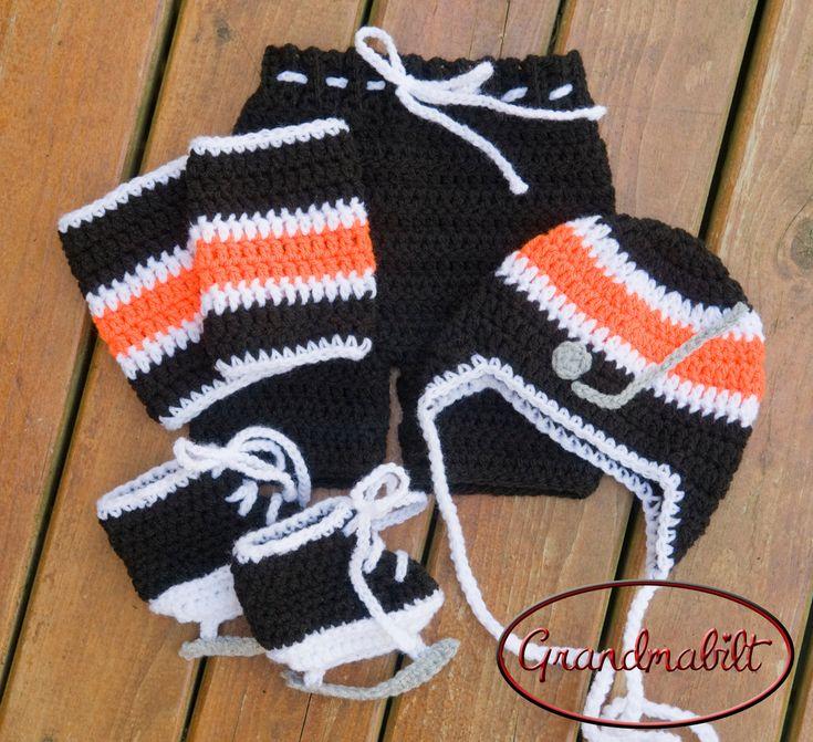 Crocheted BABY BOY HOCKEY Hat, Pants, Socks and Skates Set ...