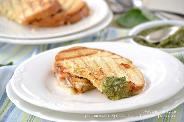Parmesan Grilled Cheese Panini with Basil Pesto Dipping Sauce | Mother ...