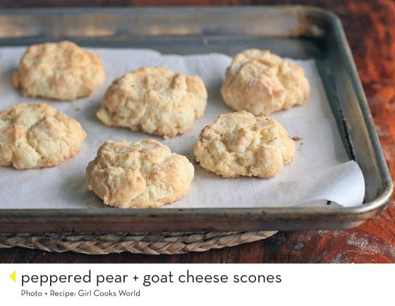 Peppered pear and goat cheese scones from Girl Cooks World via Design ...