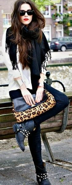Leopard Handbag,Scarf,Boots and Jeans