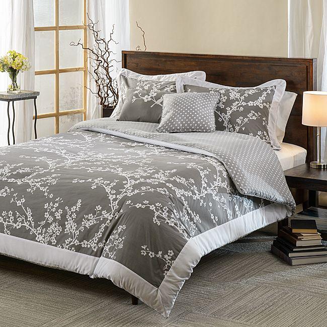 hanami grey and white cotton reversible 5 piece comforter set. Black Bedroom Furniture Sets. Home Design Ideas