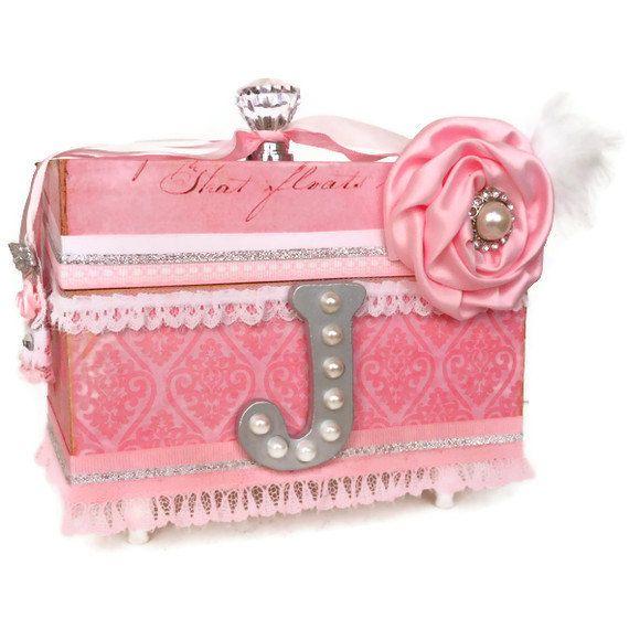 personalized girls jewellery keepsake box pink damask On baby girl jewelry box