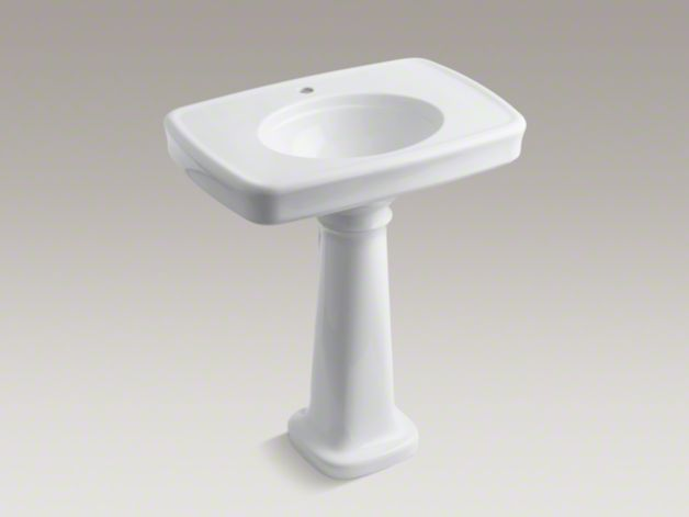 Bancroft Pedestal Sink : KOHLER K-2347-1 Bancroft Pedestal Sink with Single Faucet Hole ...