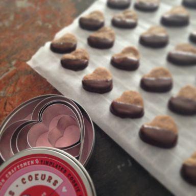 ... .com Valen-tiny Chocolate dipped, espresso shortbread cookies