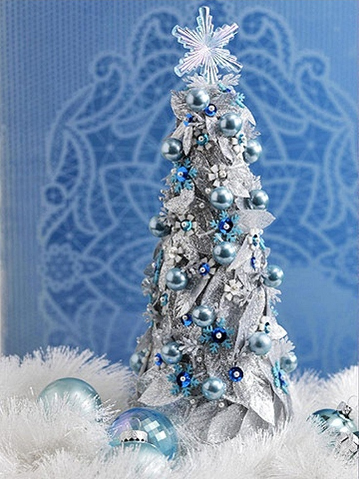 Christmas Tree Blue And Silver Theme : Craft a blue and silver christmas tabletop tree