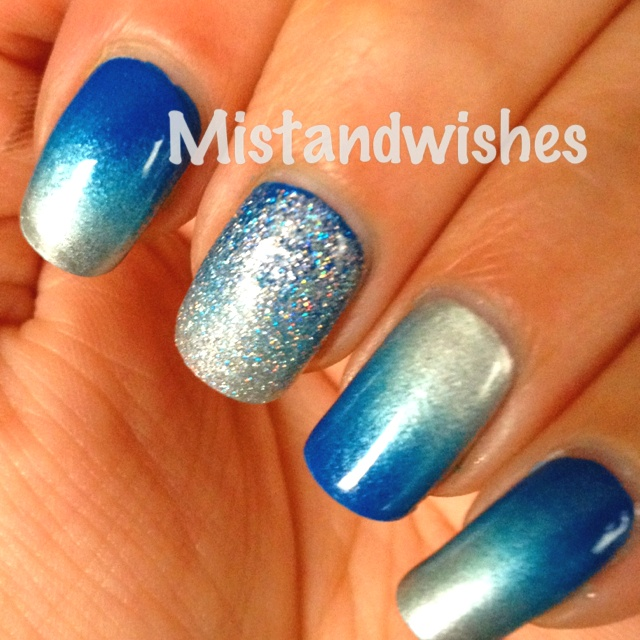 pretty blue and silver gradient nails nails pinterest