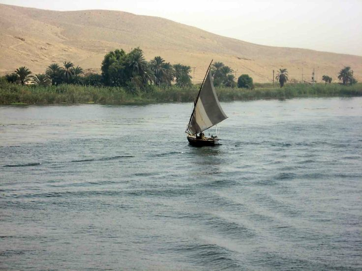 lone Felucca on the Nile. Peace and Quiet in Egypt or not ... See ...: pinterest.com/pin/128000814383542060