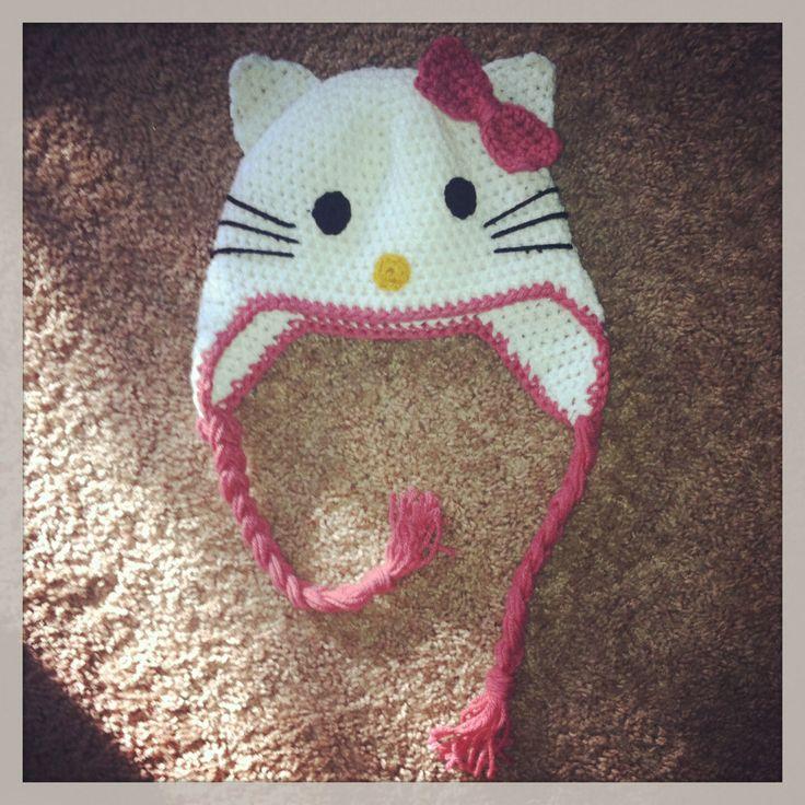 Crochet Kitty Hat : Hello kitty crocheted hat crocheting Pinterest