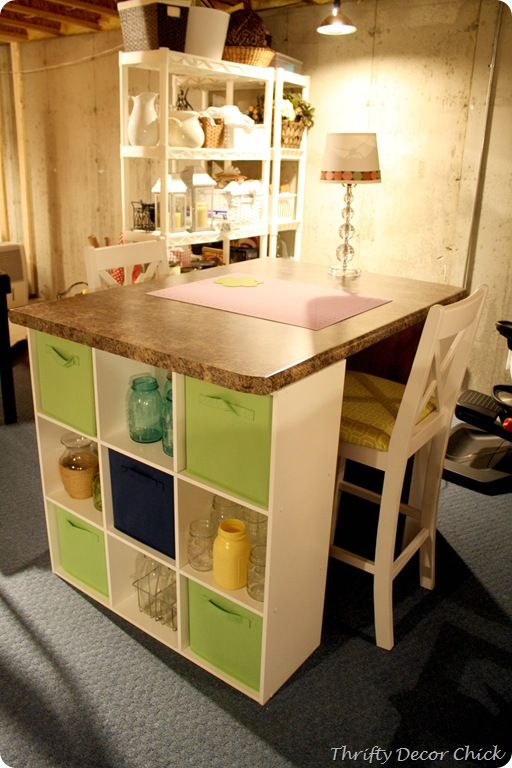 DIY craft table with tons of storage!