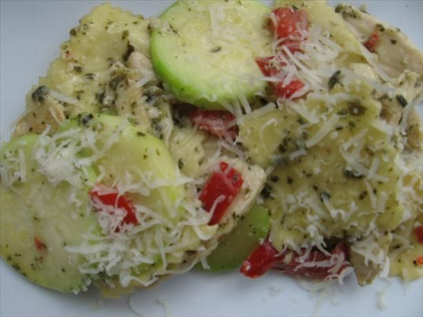 Pesto Ravioli with Chicken from Food.com: A quick, easy, skillet ...