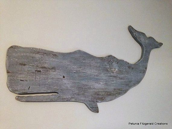 Wood Whale Wall Decor Beach Nautical Decor