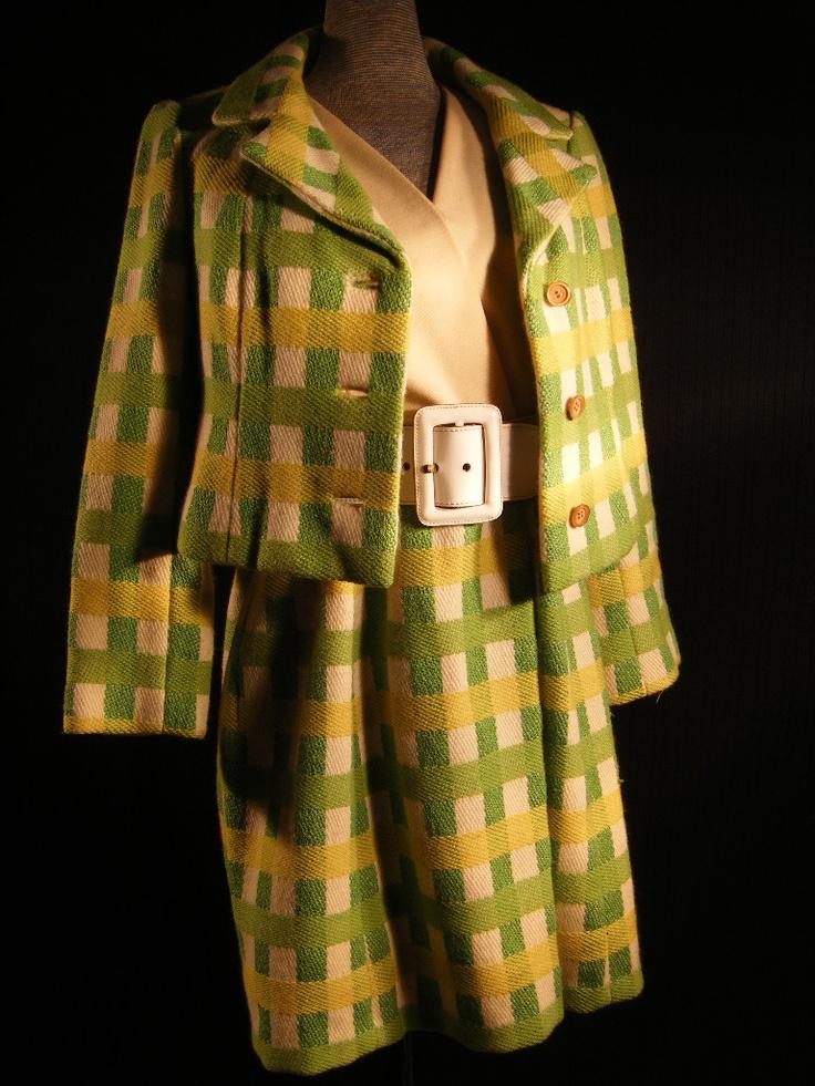 Rare vtg 60s designer green plaid 2 pc dress set bust 34 xs s ebay