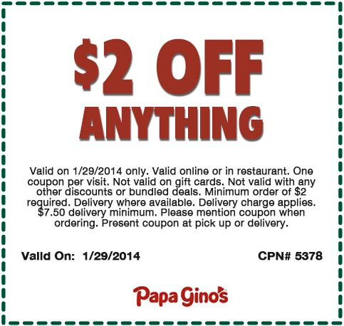Papa gino's coupon code
