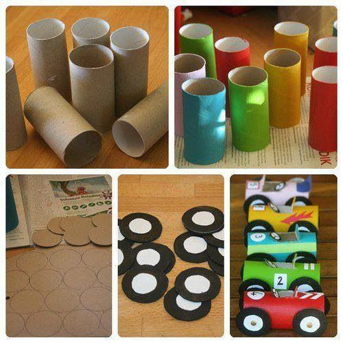 Toilet paper rolls cars crafts with kids pinterest for Things to make with toilet paper rolls