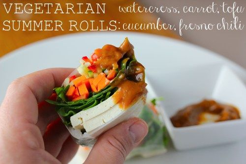 summer rolls with watercress, carrot, tofu, cucumber, and fresno chili ...