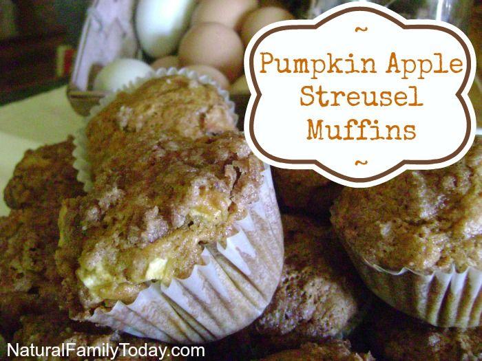 Pumpkin Apple Streusel Muffins #baking #muffins