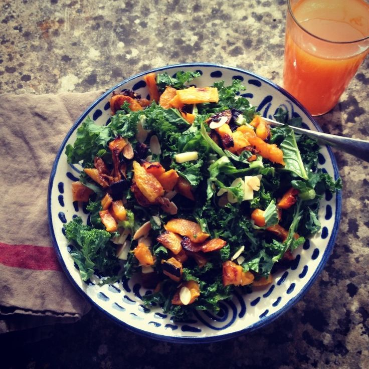 Kale salad with butternut squash toasted almonds and clothbound ...