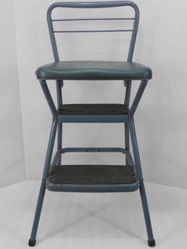 Blue Vintage 32 Cosco Flip Top Metal Step Stool W Padded Seat